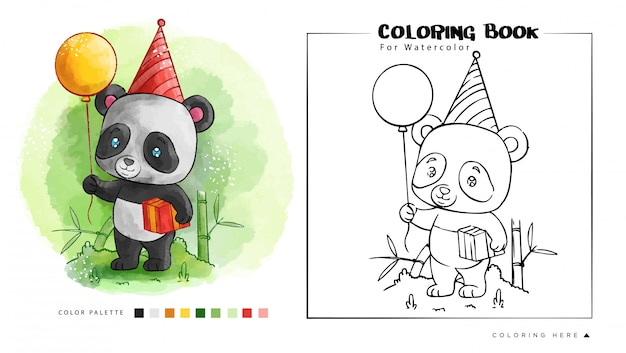 Cute panda hold birthday balloon & gift. cartoon illustration
