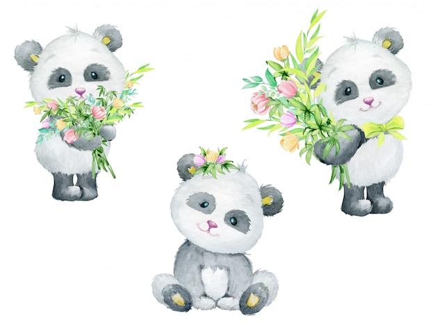 水彩のかわいい動物の花の花束を保持しているかわいいパンダ
