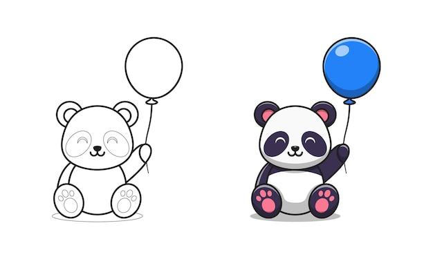 Милая панда держит воздушный шар мультяшный для раскраски