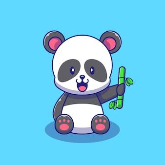 竹のイラストを保持しているかわいいパンダ。パンダマスコット漫画のキャラクター動物アイコンの概念が分離されました。