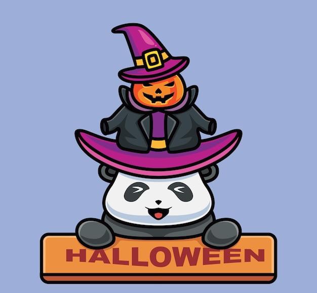 보드를 들고 있는 귀여운 판다 마법사. 격리 된 만화 동물 할로윈 그림입니다. 스티커 아이콘 디자인 프리미엄 로고 벡터에 적합한 플랫 스타일. 마스코트 캐릭터