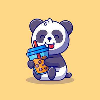 Cute panda holding boba milk tea cartoon icon illustration animal drink icon concept premium. flat cartoon style