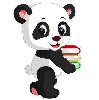 Cute panda holding books