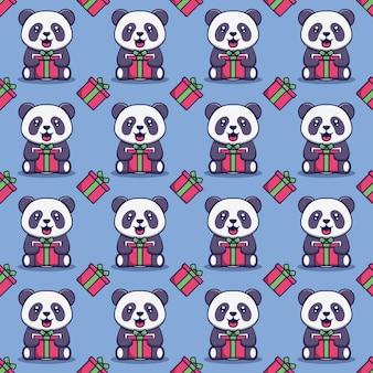 Cute panda holding a gift box seamless pattern