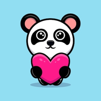 Cute panda holding heart for a gift cartoon mascot