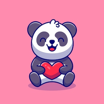 Cute panda holding love cartoon icon illustration.