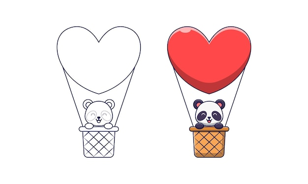 Cute panda in a hot air balloon cartoon coloring pages for kids
