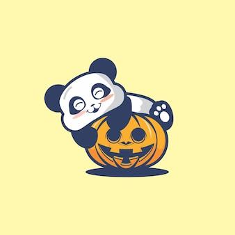 귀여운 팬더 포옹 호박 할로윈