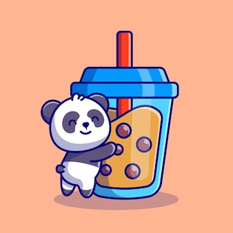 Cute panda hug boba milk tea cartoon icon illustration. animal drink icon concept premium. flat cartoon style