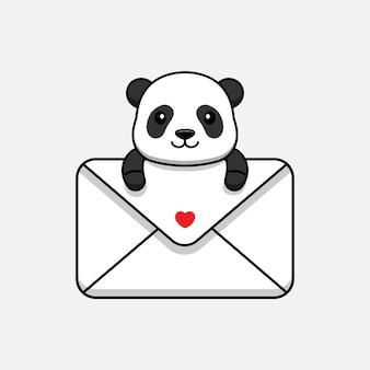 Милая панда обнимает большой конверт