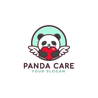 Cute panda hugging heart care logo mascot baby shop