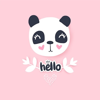 Cute panda  illustration. funny cartoon animal character.