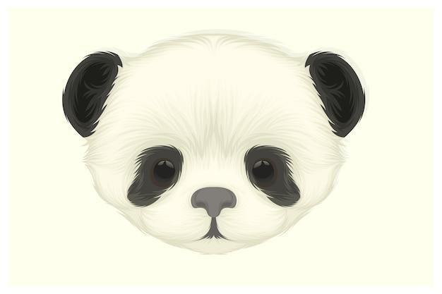 かわいいパンダのイラストのみ頭部分