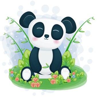 귀여운 팬더 그림은 잔디에 앉아
