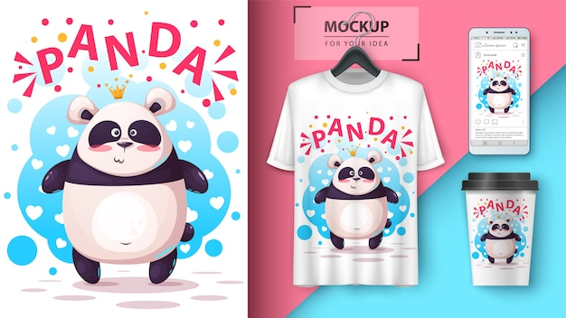 Cute panda illustration for t-shirt, cup and smartphone wallpaper