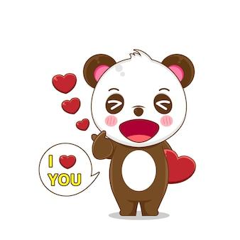 Милая панда в любви, изолированные на белом фоне