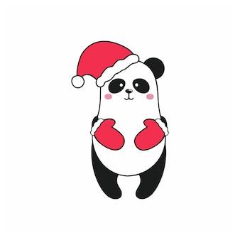 Симпатичная панда в шляпе санты и красных перчатках стоит на белом фоне. векторные иллюстрации шаржа детей для комиксов, смайлик, стикер или логотип. с новым годом и рождеством.