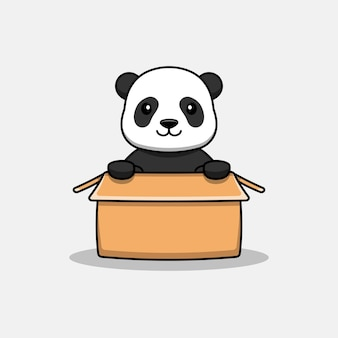 Милая панда в картоне
