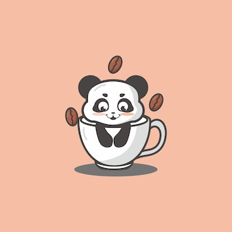 Cute panda inside a cup of coffee