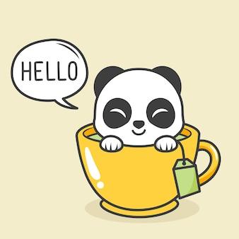 Cute panda inside tea cup