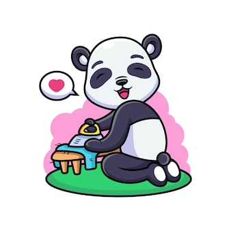 Cute panda ironing clothes cartoon. animal   icon illustration, isolated