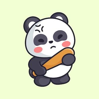 귀여운 팬더가 화를 내며 야구 방망이를 들고 있다