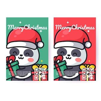 귀여운 팬더가 크리스마스를 축하하고 있습니다.