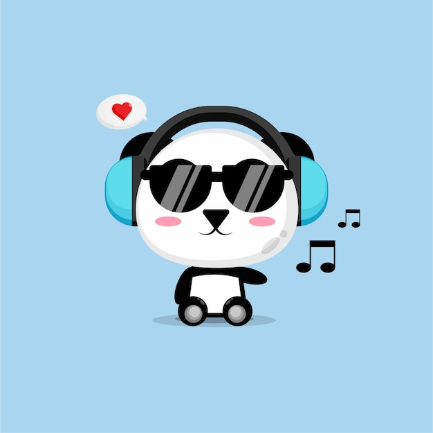Cute panda is listening to music