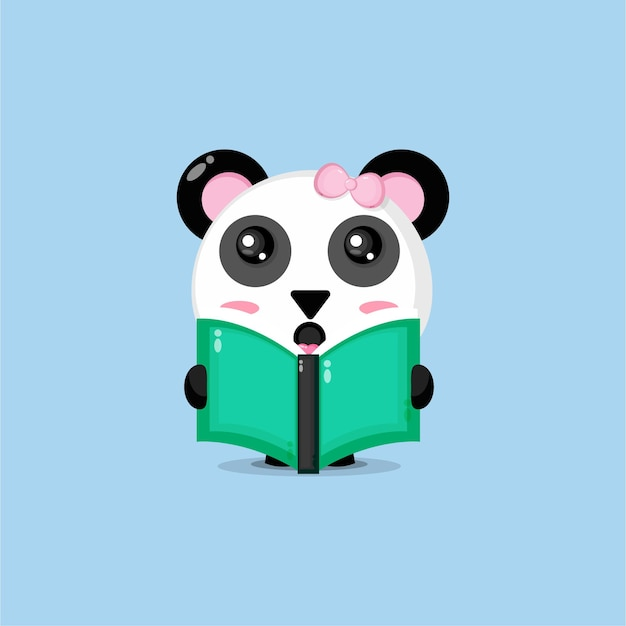 Cute panda is reading a book
