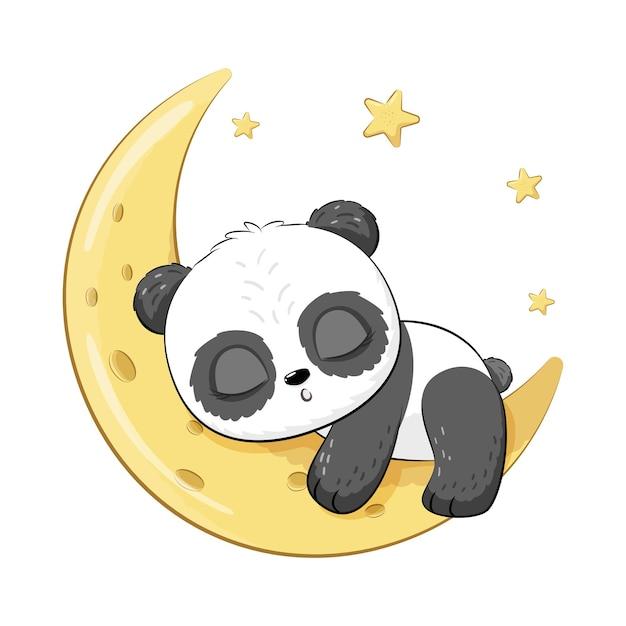 Милая панда сладко спит на луне. векторная иллюстрация мультфильма.