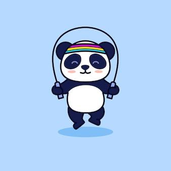 かわいいパンダ縄跳び