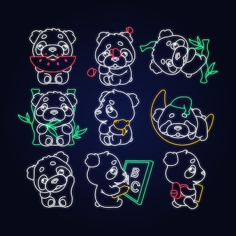 Cute panda kawaii neon light characters pack. adorable and funny animal eating watermelon, sleeping, back to school isolated sticker, patches set. anime baby baby bear doodle emojis outline icons