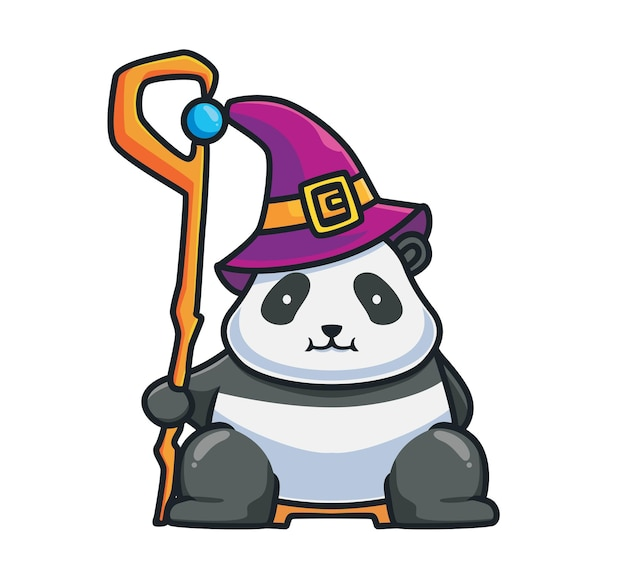 막대기 마법을 들고 있는 귀여운 판다 왕 마법사. 만화 동물 할로윈 이벤트 개념 격리 된 그림입니다. 스티커 아이콘 디자인 프리미엄 로고 벡터에 적합한 플랫 스타일. 마스코트 캐릭터
