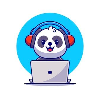 Симпатичная панда, слушающая музыку с наушниками и ноутбуком, мультяшный значок иллюстрации. концепция значок музыки животных премиум. плоский мультяшном стиле