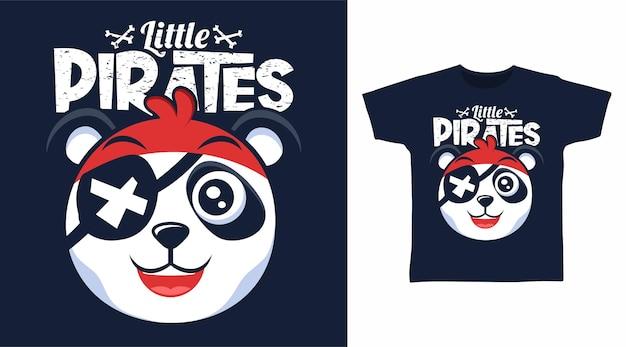 かわいいパンダの小さな海賊のtシャツのデザイン