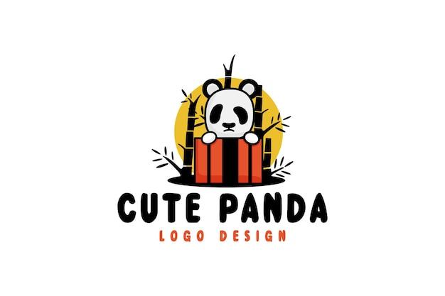 かわいいパンダのロゴデザイン