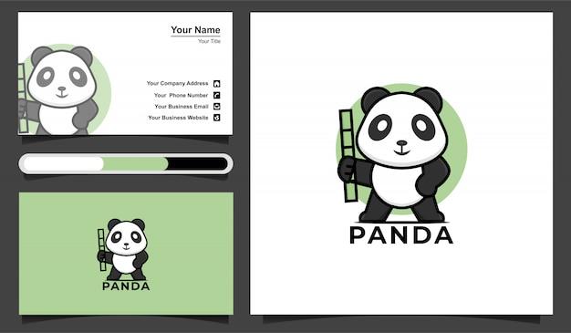 Шаблон логотипа милый панда.