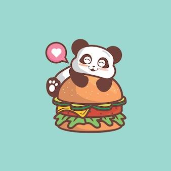 Cute panda love burger to much