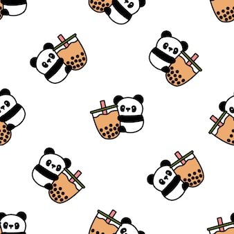 Cute panda loves bubble tea cartoon seamless pattern