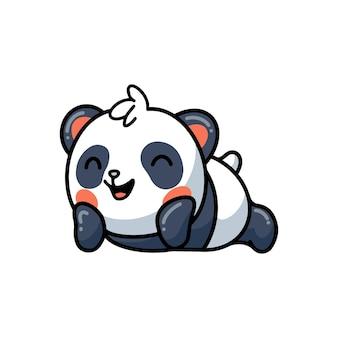 Cute panda lying down cartoon