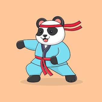 Cute panda martial with fist