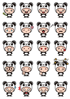 Cute panda mascot set design Premium Vector