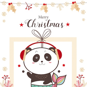 Симпатичные панды русалки рождественские каникулы мультфильм.