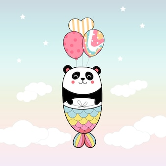 Cute panda mermaid flying with balloon in the sky
