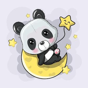 Cute panda on the moon cartoon.   hand drawing illustration