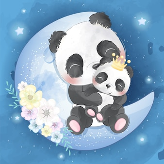 Cute panda mother and baby