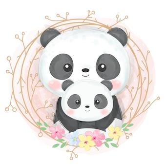 Cute panda motherhood illustration