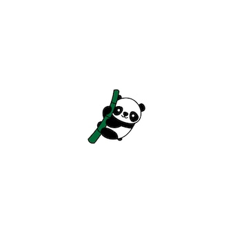Cute panda on a bamboo cartoon icon