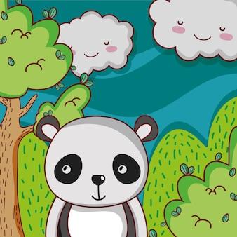 Симпатичная панда на лесной каракули