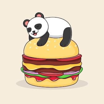 ハンバーガーの上にかわいいパンダ